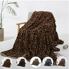 Leopard Print Faux Fur Micro Mink Throw Blanket Super Soft Coral Plush Fleece