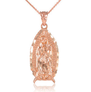14k Rose Gold Blessed Our Lady Virgin Mary Virgen Maria Guadalupe Necklace
