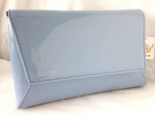 NEW PASTEL BLUE FAUX PATENT LEATHER EVENING DAY CLUTCH BAG WEDDING PROM PARTY