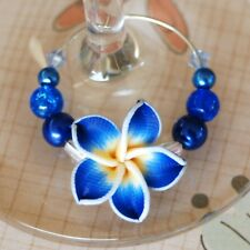 Deluxe Frangipani Wine Glass Charms - Party Gift Decoration Hawaiian Tropical