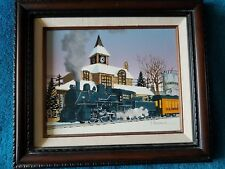 H HARGROVE SIGNED  OIL PAINTING CHAMPAIGN TRAIN STATION ILLINOIS No 158 ENGINE