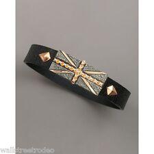 Stephen Webster Union Jack British flag wristband cuff leather sterling bracelet