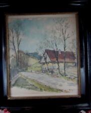 ancien tableau aquarelle et crayon signé chalet de montagne savoie savoyard