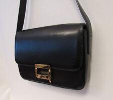 """Vtg 1980s 90s St. John Black Leather Handbag Shoulder Bag Brass Clasp 10"""" Long"""