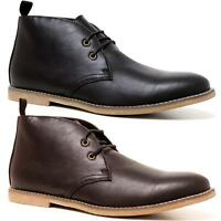 Mens Faux Leather Casual Walking Chukka Lace Desert Ankle Chelsea Boots Shoes