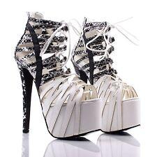 White Fashion Stilettos Strappy Platforms Womens High Heels Shoes Size 7