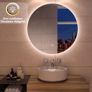Badspiegel LED 50/60/70/80 Touch Beleuchtung Wandspiegel  Rund Badezimmerspiegel