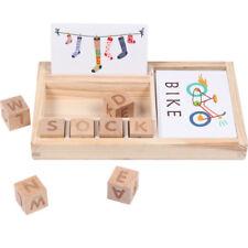 Wooden Toys Montessori Family Set Word Spell Puzzle Game Toys Kindergarten