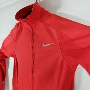 Nike Women's Dri-Fit Full Zip Running Jacket with Thumbholes Red Orange Small