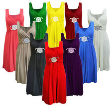 Womens Ladies Short Party Prom Bridesmaid Buckle Midi Dress Cocktail Plus Size