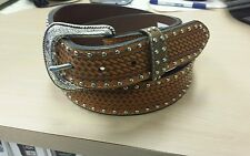 Great Looking Brand New Leather Fancy Studded Western Belt By Roper Size 34
