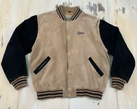 GUESS - Vtg 90s Original Style Brown Suede Bomber Jacket Coat, Mens MEDIUM