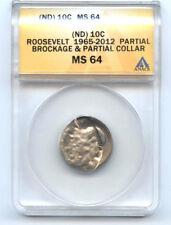 ROOSEVELT (ND) DIME (10C) PARTIAL BROCKAGE & COLLAR -ANACS MS64-RARE-MINT