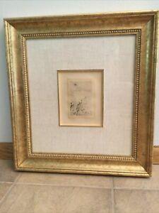 """Original Framed Pierre Auguste Renoir """"Sur la Plage"""" Etching- COA & Appraisal"""