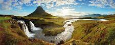 Wallario XXL Poster 80 x 200 cm - Island Panorama Fluss, Berge blauer Himmel See
