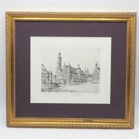 Rothenburg ob der Tauber Bavaria Germany Etching Print Signed & Framed