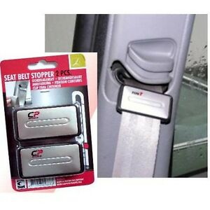 Carpoint Seat Belt Stopper Klunk Klip 2 seatbelt clip - Silver (PAIR)