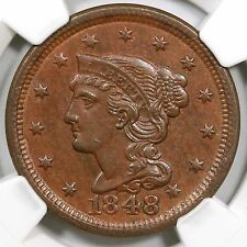 1848 N-17 NGC MS 63 BN Tied CC#5 Braided Hair Large Cent Coin 1c Ex; Holmes
