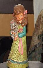 "Vintage - BIG EYED CERAMIC GIRL Statue Figurine 11-1/2"" Tall Holding Dog"