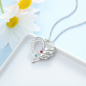 Personalized Mom Heart Necklace With 1-5 Names Birthstones Jewelry Gift For Her