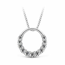 Necklace with Swarovski Element Crystal Nl01 18K White Gp Silver Ring Crystal