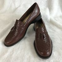 Etienne Aigner Gotham Loafers Brown Leather Slip On Flats Womens 9M Tassel Shoes