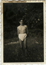 PHOTO ANCIENNE - VINTAGE SNAPSHOT - HOMME TORSE NU MUSCLE SLIP DRÔLE - MAN FUNNY