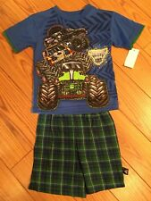 MONSTER JAM Truck Show GRAVE DIGGER Boys T Shirt & Shorts Set NEW Size 4/5 XS