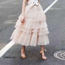Fashion Summer Women Boho Lace Tiered Ruffle Flower High Waist Beach Long Skirt