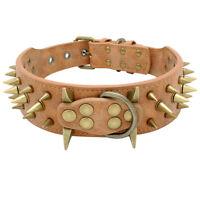 5cm Wide Sharp Spikes Studded Leather Medium Large Dog Collars Pitbull Dobermans