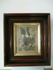 "ANTIQUE PICTURE FRAME19th C. VICTORIAN ERA WALNUT 8 x 10"" GOLD LINER"