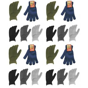 WHOLESALE JOBLOT MENS ASSORTED COLOURS COMFORT WARM HOT THERMAL GLOVES ONE SIZE