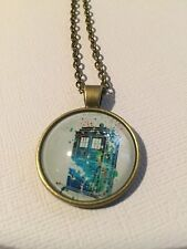 Vintage Pieces - Bronze Necklace Glass Cameo - Watercolour Tardis Dr Who