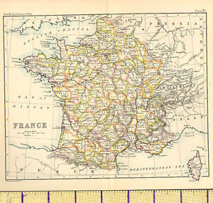 c1887 MAP ~ FRANCE ~ WITH CORSICA