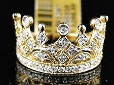 10K Yellow Gold Crown Pinky Fashion Designer Diamond Ring 1/2 Ct