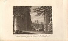 1815 GEORGIAN DATED PRINT ~ VIEW OF CHESTER CATHEDRAL from St JOHN'S CHURCH RUIN