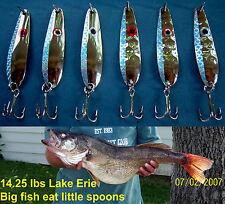 (6) Silver Blue Flash Trolling Flutter Spoons Lake Erie Walleye Candy