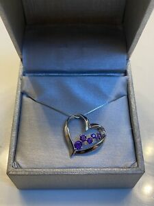ZALES Necklace, Journey Amethyst and Diamond Accent Heart Pendant-10K White Gold