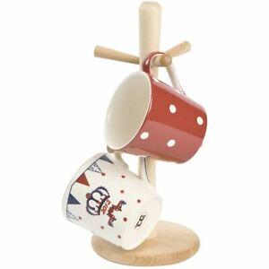 T&G Woodware Beech Wood 6 Peg Mug Tree Stand Beige Wooden Mug Cup Holder 07631
