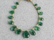 Natural Medium Green Emerald Smooth Plain Pear Briolette Gemstone Beads 008