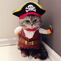 Pet Dog Cat Christmas Cosplay Costumes Captain Pirate Dog Clothes Puppy Apparel
