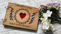 Personalised Wooden Wedding Guest Book Christening Scrapbook Photo Album Rustic