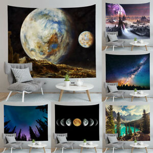 Yoga Beach Towel Mountains Galaxy Hanging Wall Retro Tapestry Hippie Home Decor