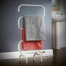 White Electric Heated Towel Rail Rack 100w Clothes Warmer Radiator Bathroom