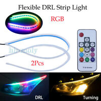 2x 45CM 60CM Car RGB Flexible Soft LED Tube DRL Strip Light Headlight Sequential