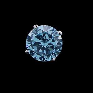 Summer Sale 1.02 Ct Blue Diamond 14K White Gold Over Men's Single Stud Earrings