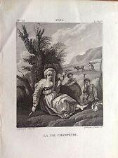 LA VITA CAMPESTRE donna con fuso Incisione XIX secolo FETTI FETI DOMENICO