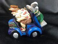 Snow Bird Golfing Santa ~Christmas Tree Ornament~ Golf Cart Hat Sunglasses Clubs