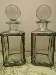 Pair Of Ancient Bottles Of Crystal, Vintage, With Cage IN Metal