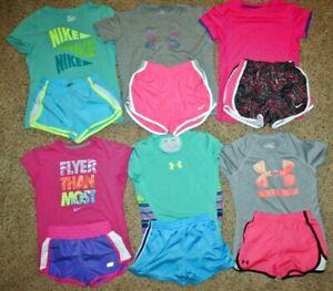 FANTASTIC LOT GIRLS SHORTS & SHIRTS Under Armour Nike Size YSM 6-8 Small Medium